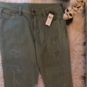 BCBG army green destructed jeans